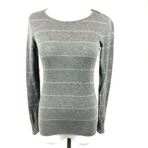 LOFT Silver gray striped zipper accent sweater